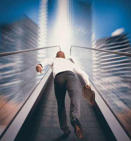 ways to go: Concept of Easy way to success with businessman and escalator
