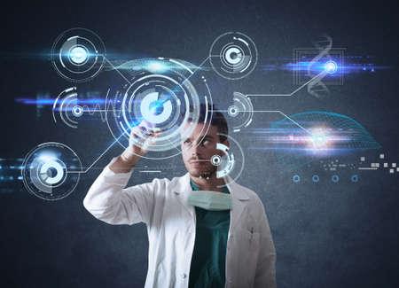 futuristico: Medico che lavora su una interfaccia touchscreen futuristico Archivio Fotografico