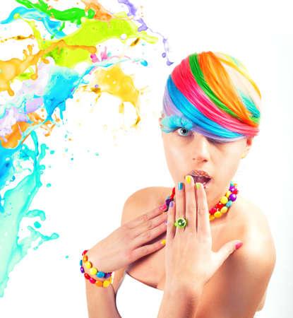 액체 효과에서 Colorfull 아름다움의 패션 초상화 스톡 콘텐츠