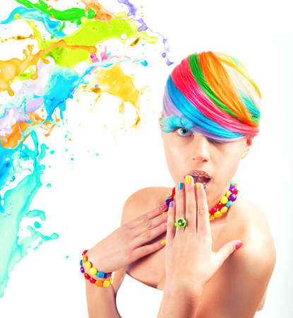 Colorfull beauty fashion portrait with liquid effect 版權商用圖片