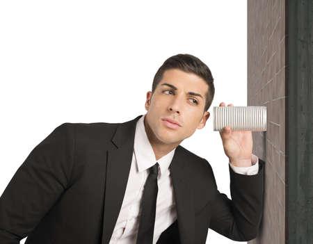 stupor: Concepto de hombre de negocios secretos de espionaje en los negocios Foto de archivo