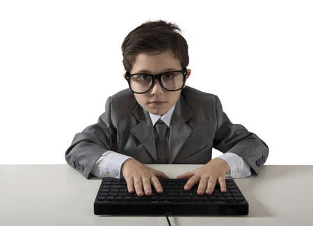 Young programmer writes a new software with computer Stock Photo