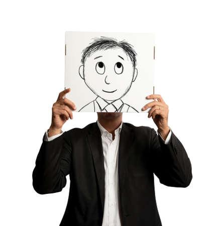 optimismo: Empresario Optmist con la historieta sonriente diseñado en una hoja Foto de archivo