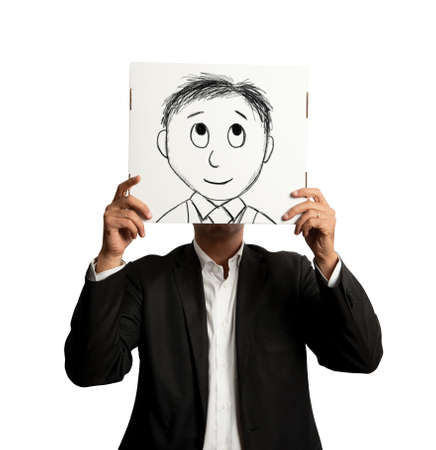 Optmist businessman with cartoon smiling designed on a sheet photo
