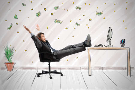 daydream: Concept of success and ambition of a winner businessman