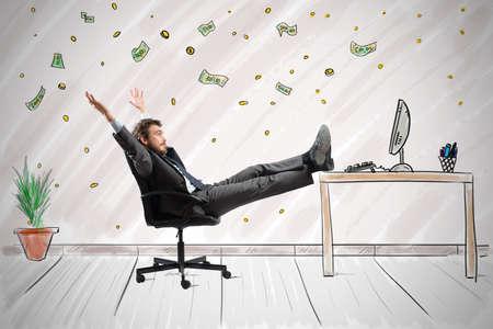 concepto: Concepto de éxito y la ambición de un hombre de negocios ganador Foto de archivo