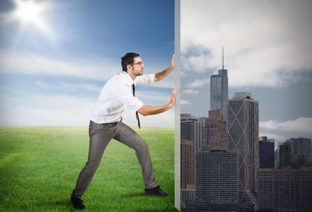 life change: Concept of Change pollution with green environment Stock Photo