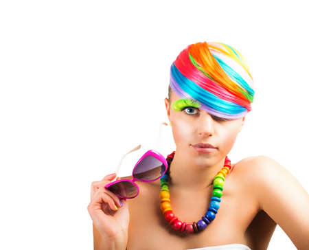 Concept of beauty  with colorfull fashion portrait of a girl Stock Photo