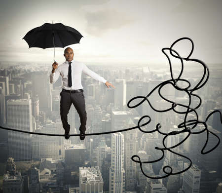 financial obstacle: Problem and difficulty concept of a businessman