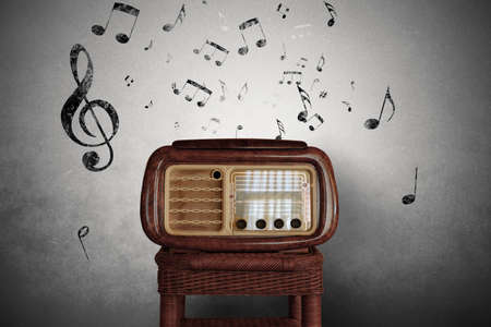 Abstract vintage music notes with old radio photo