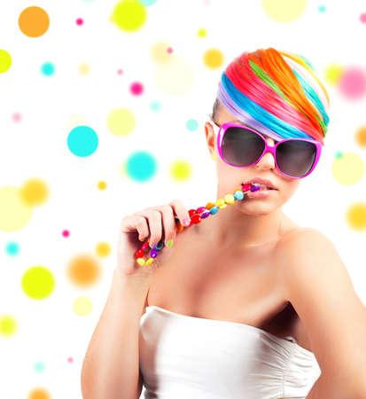sunglassess: Modern rainbow colorful fashion makeup of a beautuful girl Stock Photo