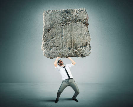 Concept of Stress and hard career a businessman photo