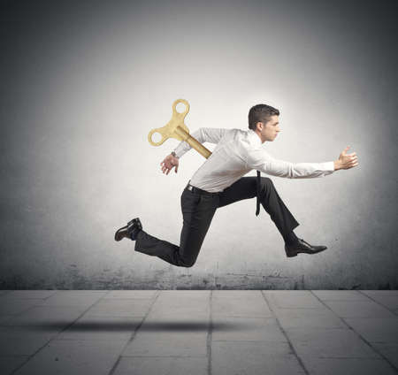 charge: Concept of charged and full of energy businessman Stock Photo