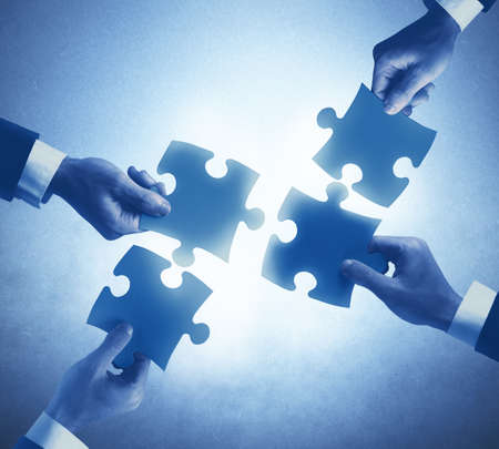 Teamwork en integratie concept van een ondernemers Stockfoto