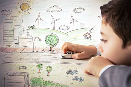 energia solar: Concepto de la fantasía y immagination de un niño Foto de archivo
