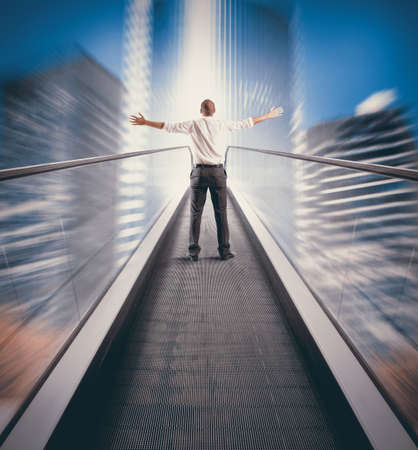 easy way: Concept of Easy way to success with businessman and escalator