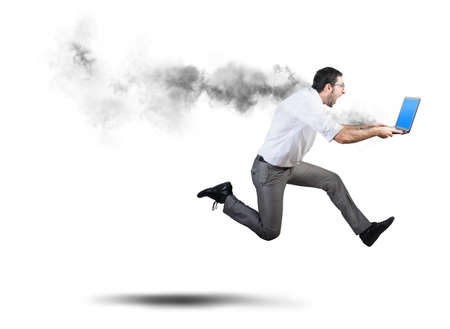 Running businessman has problems and errors with computer photo