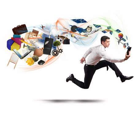 Concept of business creativity with running businessman and tablet photo