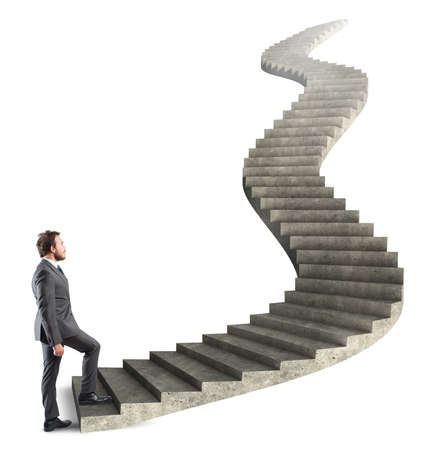 up stair: Concept of long career of a businessman Stock Photo