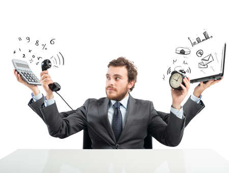weariness: Concept of busy multitasking businessman at work