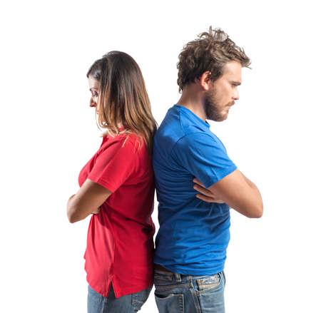 관계에 문제가있는 젊은 부부의 개념 스톡 콘텐츠