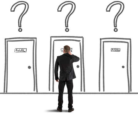 Concept of a Businessman that chooses the right door