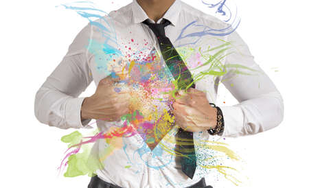 powerful creativity: Concept of Creative business with colorful effect Stock Photo