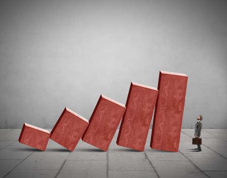 Concept van de crisis met instabiele statistiek bars Stockfoto