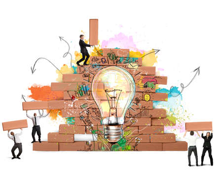 Ondernemers werken samen voor een nieuw creatief idee Stockfoto