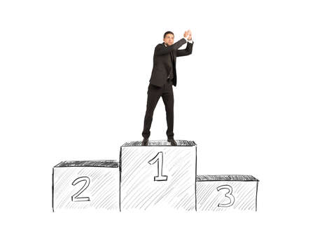 winners podium: Concept of success and career of a businessman