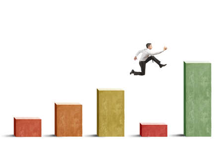 skip: Businessman skips the crisis with a jump on a positive statistic Stock Photo