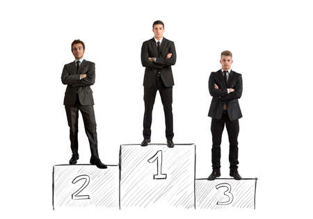 winner podium: Concept of competition with businessman on podium