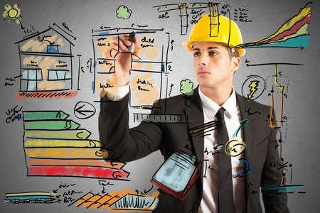 eficacia: Borrador de proyecto energ�tico de un ingeniero de la construcci�n Foto de archivo