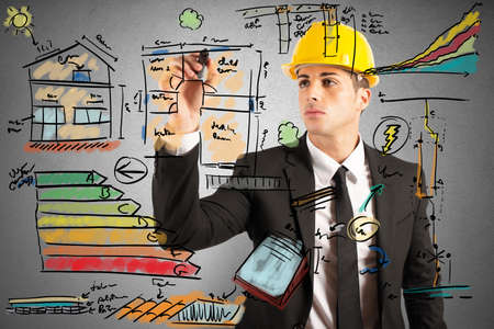 economy: Energetic project draft of a construction engineer Stock Photo