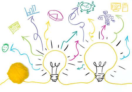 ビジネス シンボルとアイデアと革新の概念