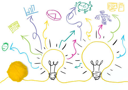 Idea and innovation concept with business symbol