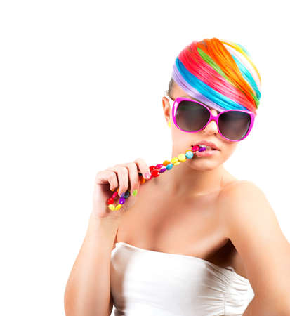 sunglassess: Modern rainbow colorful fashion makeup of a beautuful girl Stock Photo