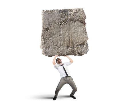 Concept van stress en hard carrière een zakenman Stockfoto