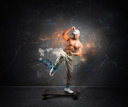 Modern fitness concept with a boy on the step with motion effect photo