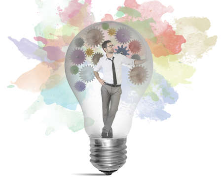 Businessman thinking about a new creative idea photo