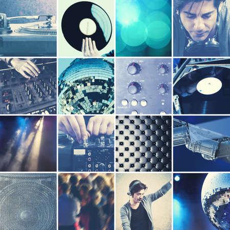 techniek: Collage van DJ op het werk dat het afspelen van muziek met een mixer Stockfoto
