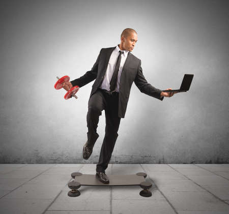 Concept of hard and acrobatic business of a successful man
