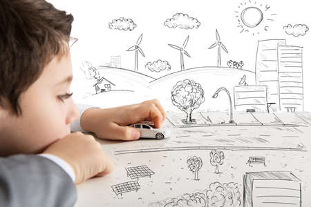 Konzept der Fantasie und immagina eines Kindes