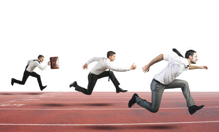 competitive business: Concept of Business Competition with businessman that running in a track Stock Photo