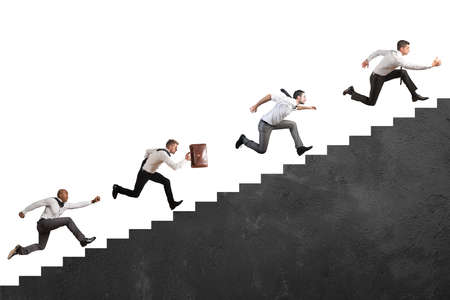 growth opportunity: Concept of competition with Businesspeople that climbs high stairs