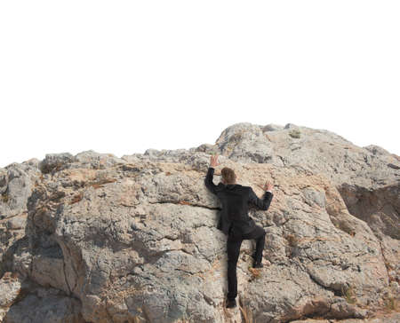 Concept of competition with businessman that climbing a mountain photo