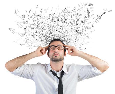 Konzept von Stress und Verwirrung von einem Geschäftsmann