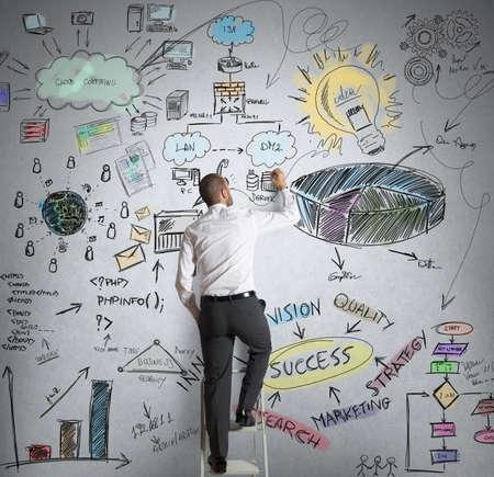 ビジネスマンを描画、新しい創造的なビジネス プロジェクト 写真素材