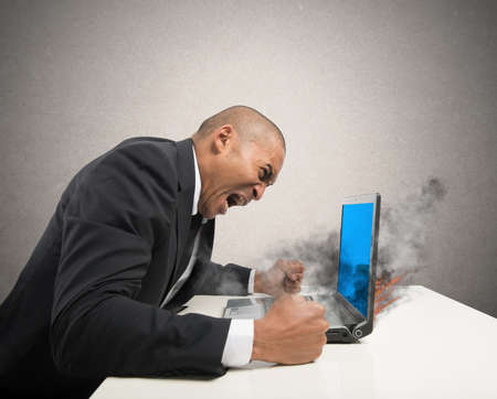 Concept of stress with blue screen computer error photo