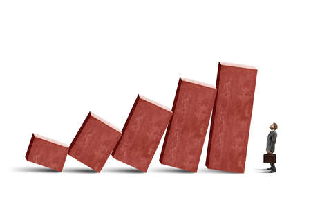 downward: Concept of crisis with unstable statistic bars Stock Photo